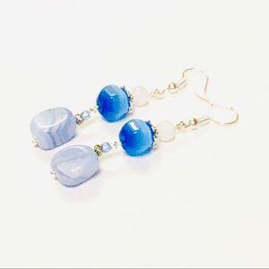 Lace Agate & Periwinkle Blue Cats Eye Earrings